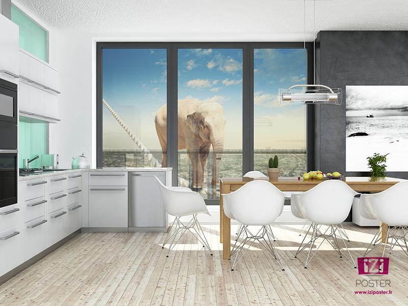 poster fenêtre en transparence