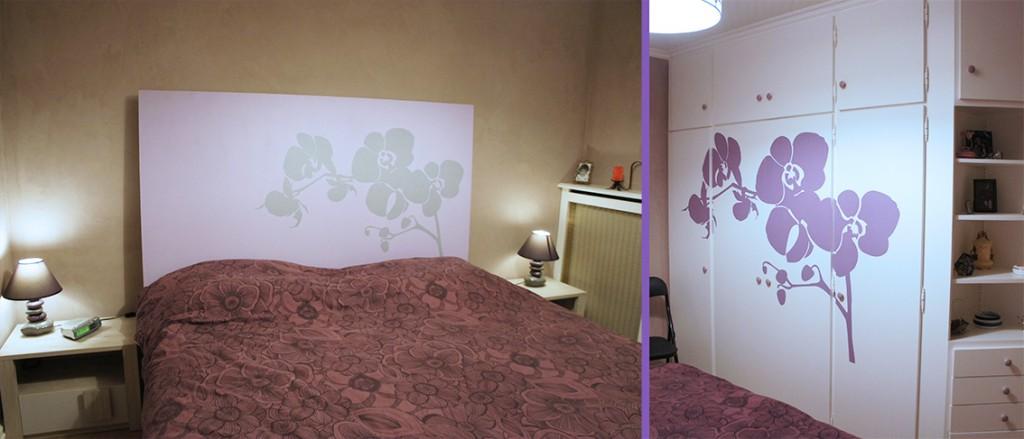 sticker tête de lit orchidée