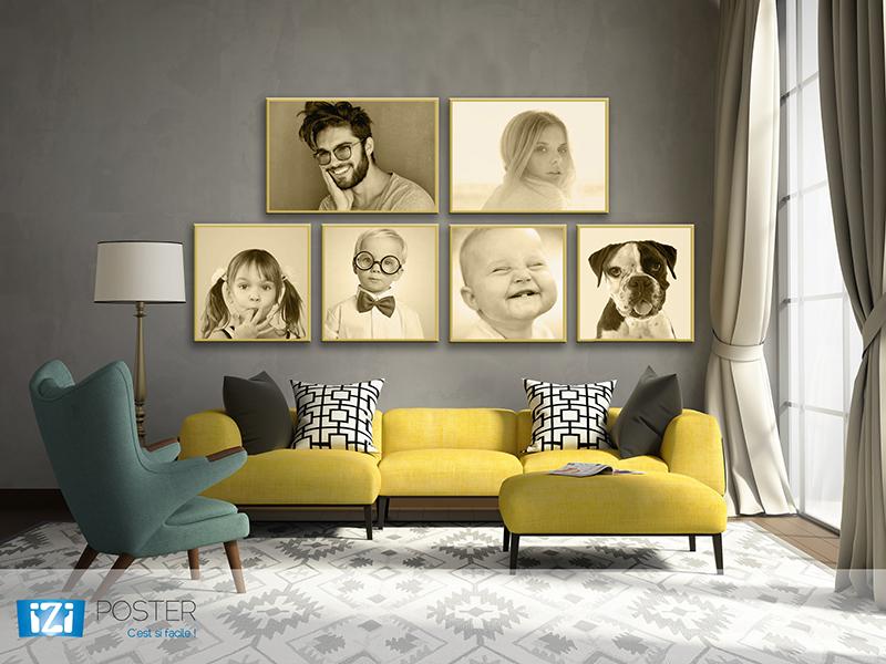 poster portrait de famille sepia