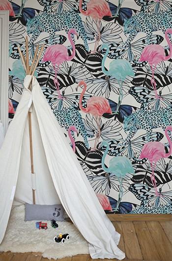 rouleau de papier peint adhesif flamants roses. Black Bedroom Furniture Sets. Home Design Ideas
