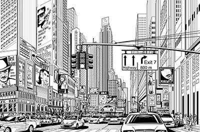 Papier peint adhésif GRAVURE NY 360x260 cm