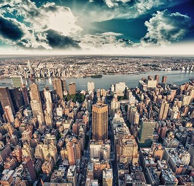 Papier peint adhésif textile NY vue du ciel