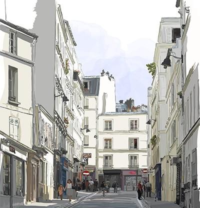 Toile écologique Rue de Paris 250x260 cm