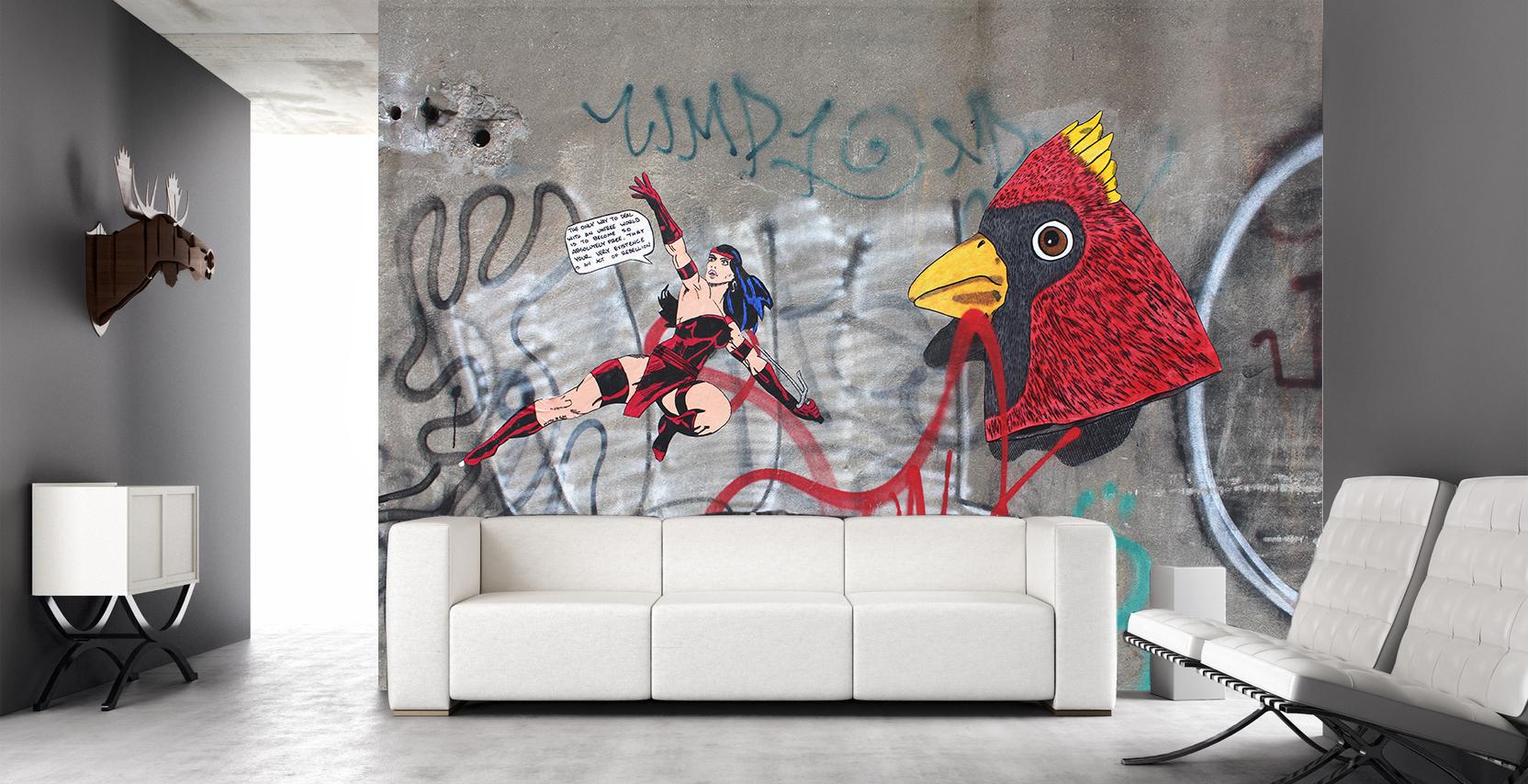Fresque adhésif textile WONDER WOMEN STREET ART