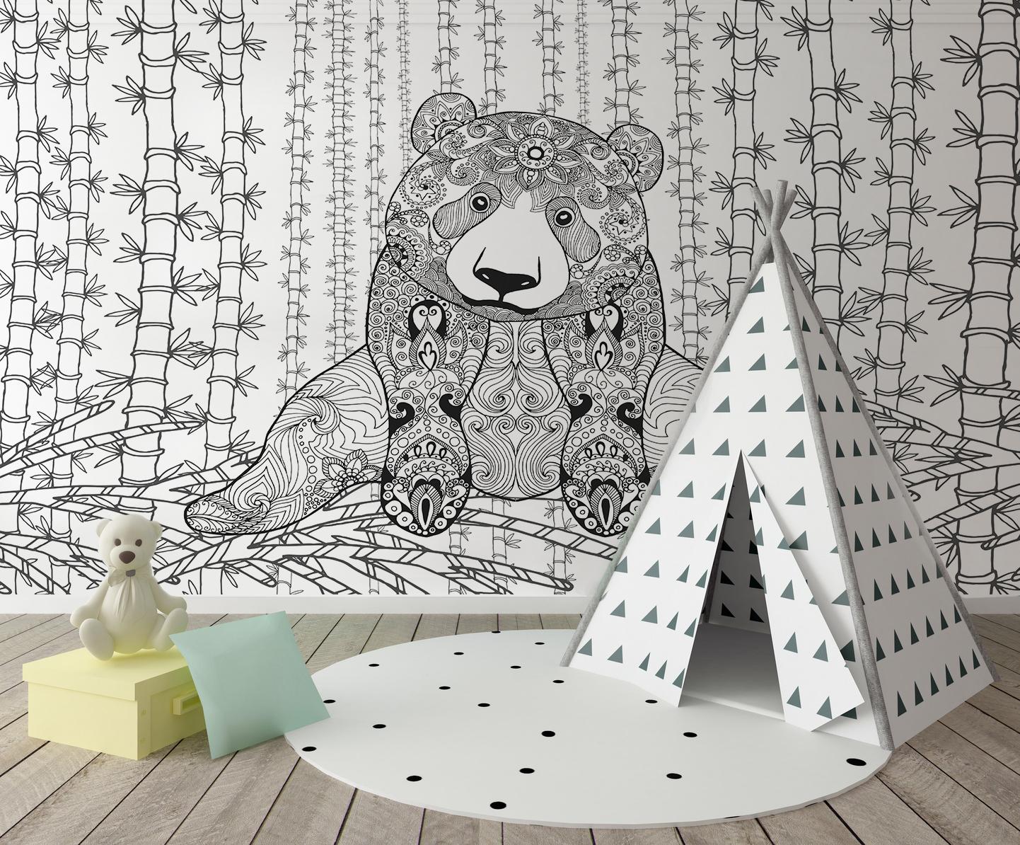 Papier peint adhésif textile PANDA
