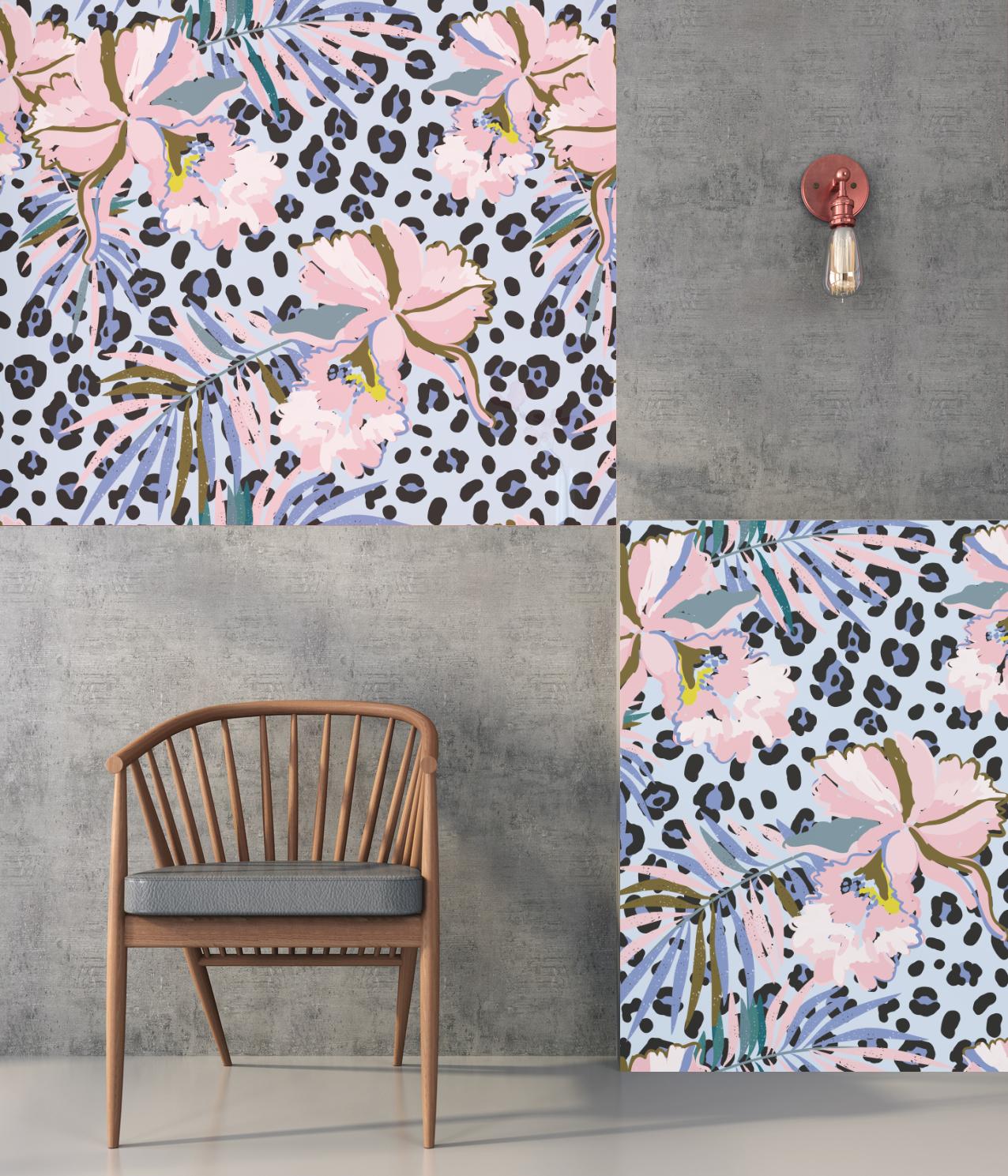 Papier peint adhésif JUNGLE FLOWERS