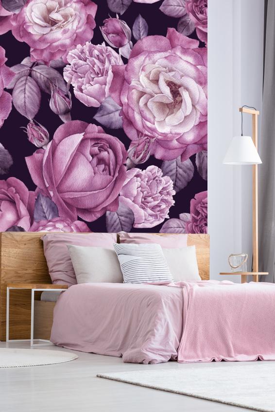 Papier-peint textile adhésif PURPLE FLOWER